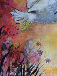 Morgenflug, Detail, 46 x 61.5, Acryl auf Leinwand, Vera Briggs