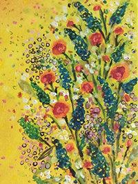 Bird of Plenty and the Burning Bush, Detail, 50x50, Acryl auf Leinwand, Vera Briggs