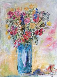Sommerblumen III, Detail, 26 x 32, Acryl auf Leinwand, Vera Briggs