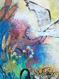 Heimflug, Detail, 60 x 70, Acryl auf Leinwand, Vera Briggs