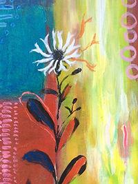 Blumenfreude, Detail, 40 x 60, Acryl auf Leinwand, Vera Briggs