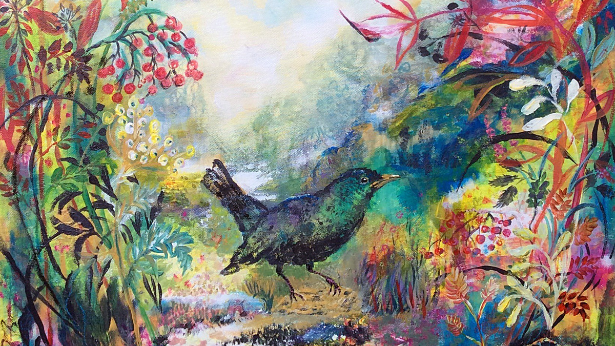 Bird of Paradise 60 x60, Acryl auf Leinwand, Vera Briggs